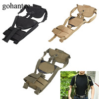 gohantee Universal Adjustable Military Shoulder Holster MOLLE Tactical Bag Polyester Pistol Airsoft Double Magazine Pouch Holder