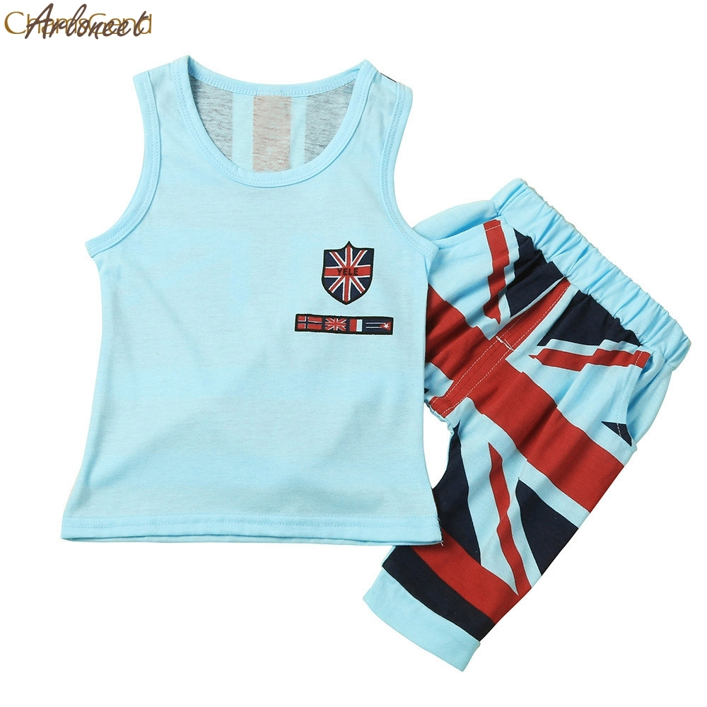ARLONEET New Year Fashion Christmas pajamasKids Baby Boys Union Jack Outfits Vest Tops+Shorts Pants 2PC Set Clothes Oct19 ...
