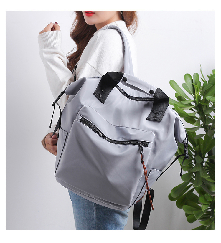 HTB1wmlravfsK1RjSszgq6yXzpXae Fashion Nylon Waterproof Backpack Women Large Capacity Schoolbags Casual Solid Color Travel Laptop Backpack Teen Girls Bookbags