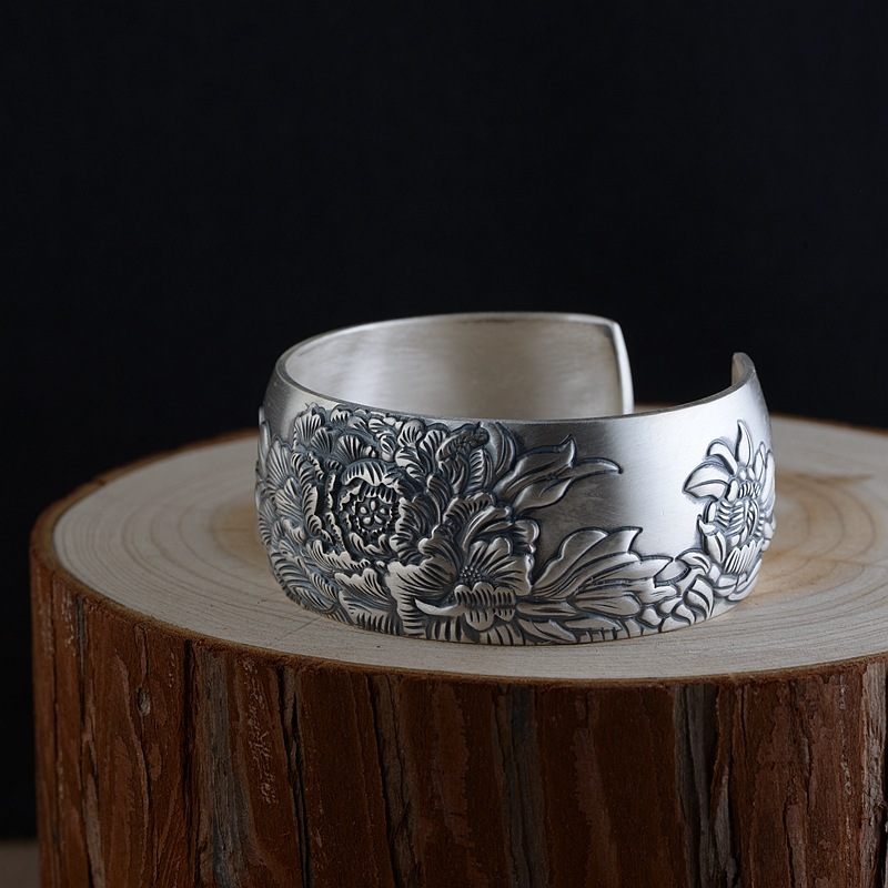 S990 bracelet en argent sterling rétro thaïlandais en argent bracelet large en fleurs de pivoine pour femmes