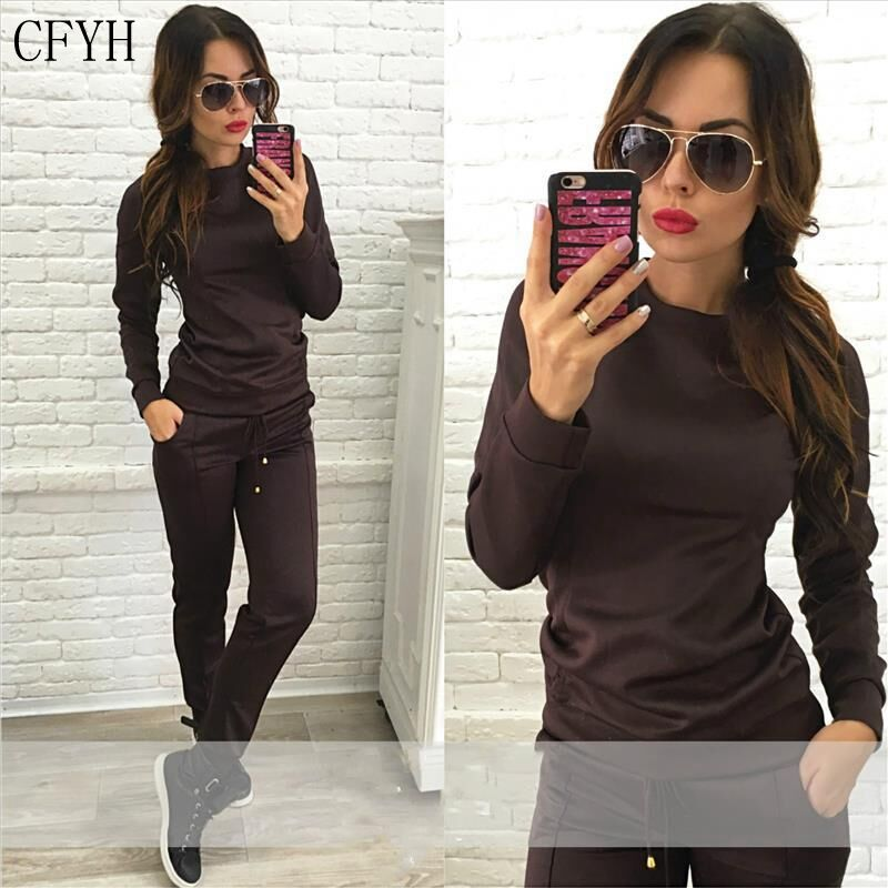 CFYH 2018 new 2Pcs Womens Hoodies Crop Tops Pants Tracksuit Sweatshirt Sweat Suits Set