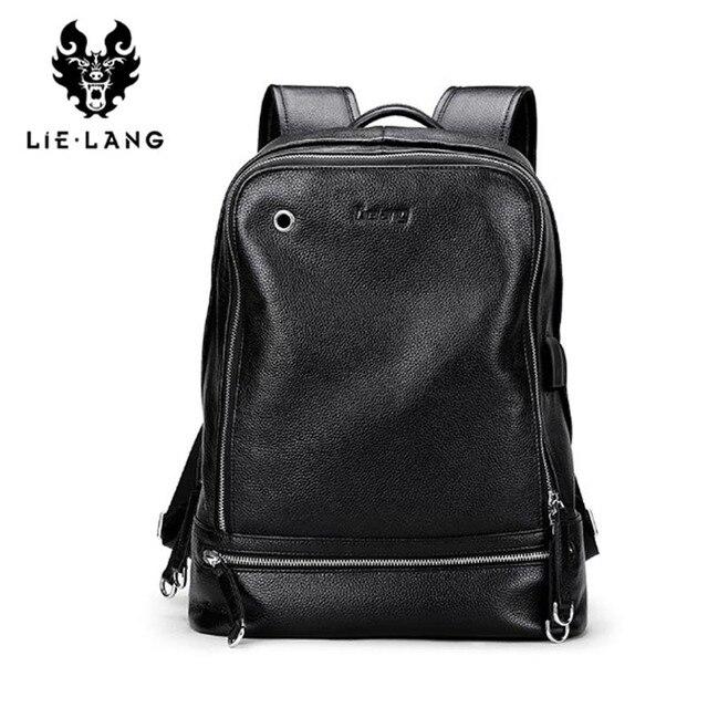 LIELANG Backpack Men 2018 Genuine Leather Mochila USB Charge Laptop Backpacks Anti-theft Backpack Tourist Boys Shoulder Bag 1