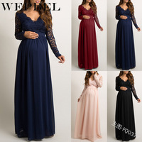 WEPBEL Women Dress V Neck Sexy Lace Full Sleeve Chiffon Pregnant Loose Plus Size Casual Summer Fashion Ladies Dresses