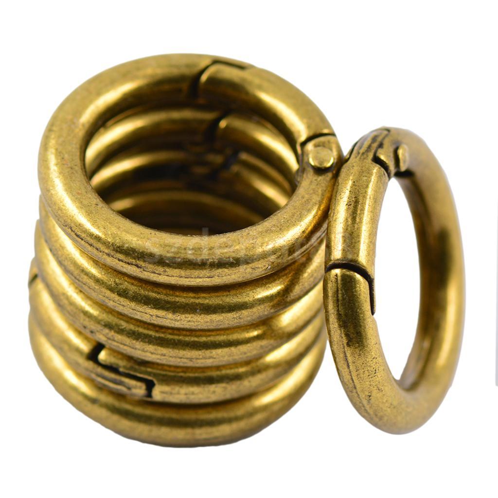 6pcs Copper alloy Round Spring Snap Hooks clip Handbag Purse Shoulder Strap