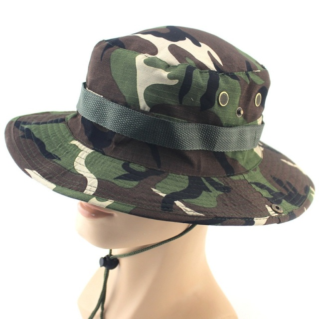 ff350ec454d 2017 New Men Camouflage Printing Bucket Hat Wide Brim Military Hats Chin  Strap Fishing Cap Jungle Hunting Caps Sun Protection