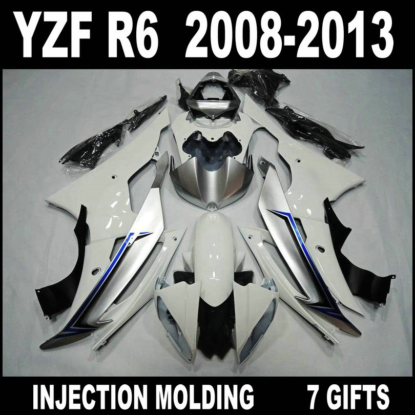7 Gifts <font><b>fairings</b></font> for <font><b>2008</b></font> 2009 2010 - 2013 YAMAHA <font><b>R6</b></font> <font><b>fairings</b></font> 08 09 10 11 12 13 <font><b>YZF</b></font> <font><b>R6</b></font> silvery white black <font><b>fairing</b></font> <font><b>set</b></font> JFV75 image