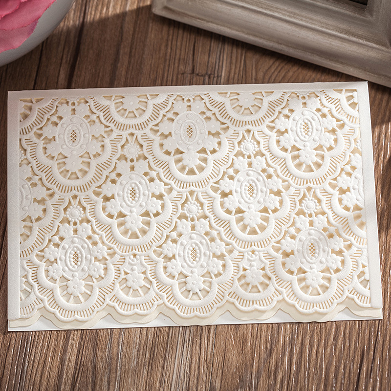 2016 Newly Arrival White Flower Designed Wedding Invitations Elegant  25pcs/lot RSVP Cards Wedding Party