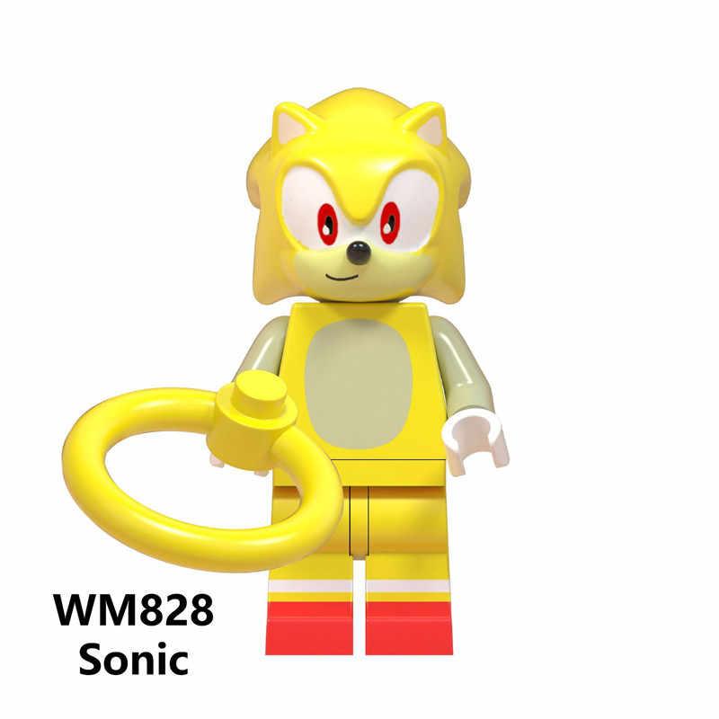 Super Sonic Sombra Anime do Sonic Knuckles Figuras de Ação Toy Boneca Presentes de Natal Blocos de Construção de Brinquedos Legoe Minifigured WM6043