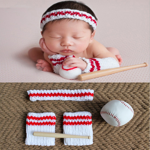 00bbf0c10c55a 2018 Newborn Props Cute Baseball Player Baby Boy Girls Costume Infant  Knitted Outfit Baby Props Newborn Photography Accessories