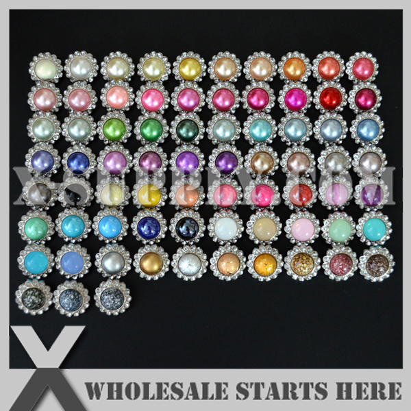 23mm Acrlic Pearl Rhinestone Embellishment Button with Shank Assorted Colors in Silver Base Free Shipping