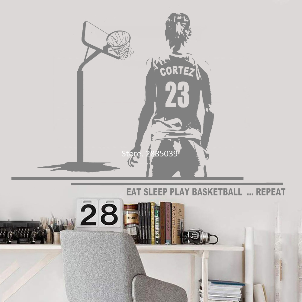 Us 8 38 30 Off Female Player Wall Decal Basketball Art Wall Decor Mural Custom Name And Jersey Numbers Girl Bedroom Decor Vinyl Stickers Lc1066 In