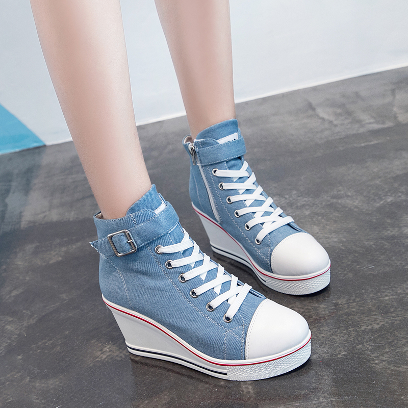 Image 3 - 2018 New Fashion Women High Top Canvas Sneakers Wedges Shoes Womens Denim Ankle Lace Up Ladies Ankle Canvas Shoes WomanWomens Vulcanize Shoes   -