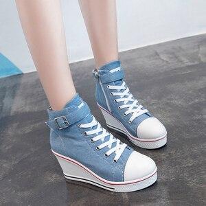 Image 3 - 2018 חדש אופנה נשים גבוהה למעלה בד סניקרס טריזי נעלי נשים של ג ינס קרסול תחרה עד גבירותיי קרסול נעלי בד אישה