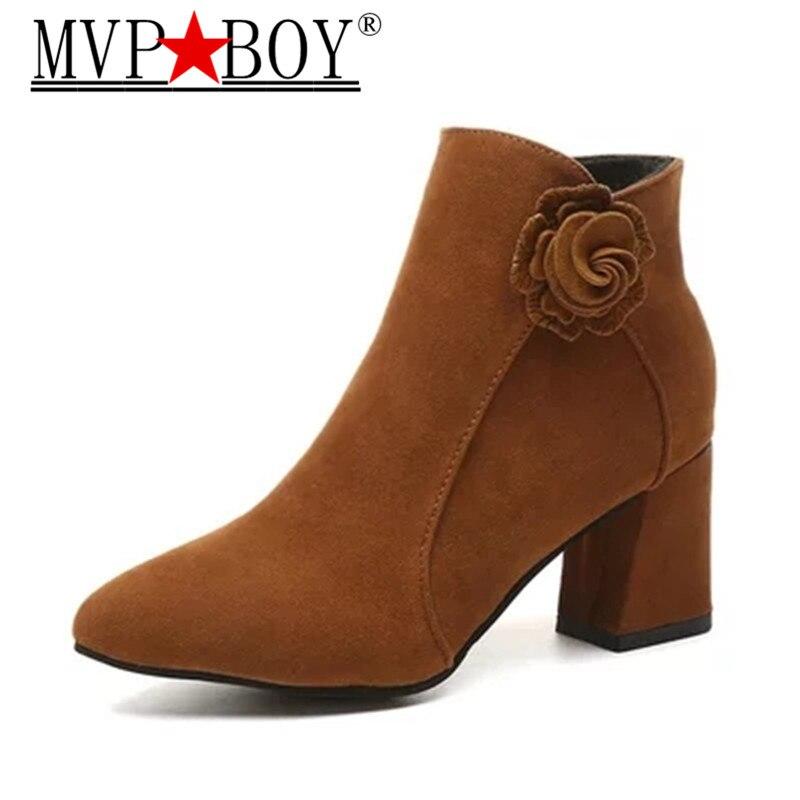 MVP Boy New Autumn Winter Women High Heel Boots Suede Flower Female Side Zipper Martin Vintage Fashion Ankle Black