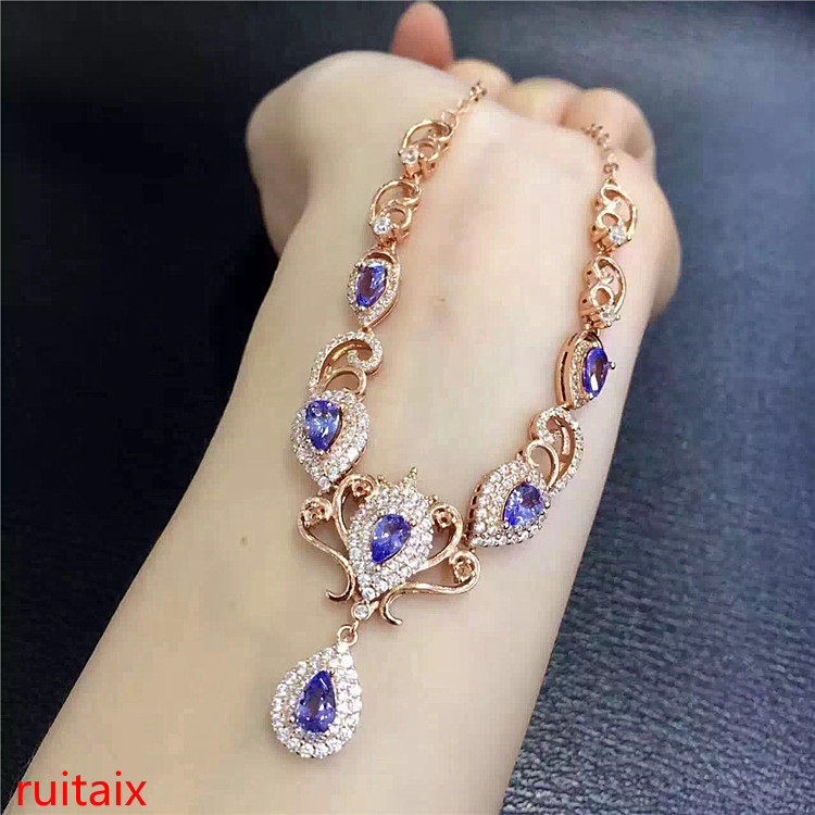 KJJEAXCMY boutique jewels 925 sterling silver inlaid with natural stone tanzanite necklace set chain jewelry gem.asdfgeret kjjeaxcmy boutique jewels 925 sterling silver plated rose gold with natural tourmaline collarbone necklace chain