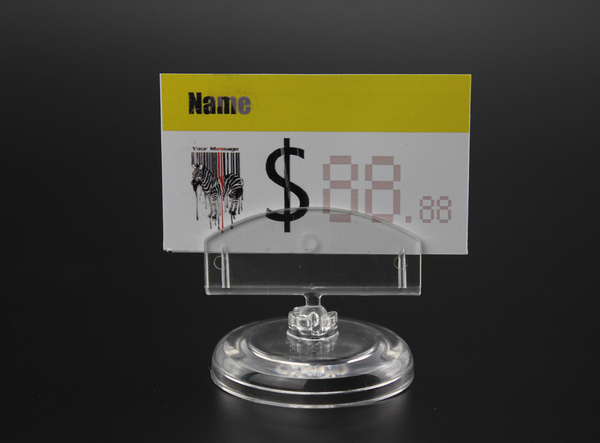 50pcs Clear New PC Rotatable POP Supermarket Sign Card Holder Price Tag Display Name Card Display Holder Table Sign Clip Stand