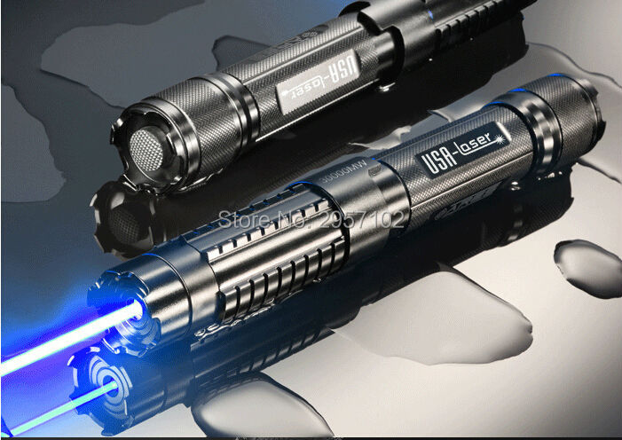 HOT! Powerful 450nm 100000m 100W Strong power Military blue laser pointer LED burn match candle lit cigarette wicked Lazer Torch strong power military 450nm 100000mw 100w focusable blue laser pointer sos burning match candle lit cigarette wicked lazer torch