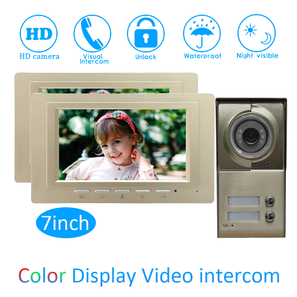 One To Two Video Door Phone System For Security Visitor Calling System 7 Inch Color Monitor Wire Type Doorbell Night Vision