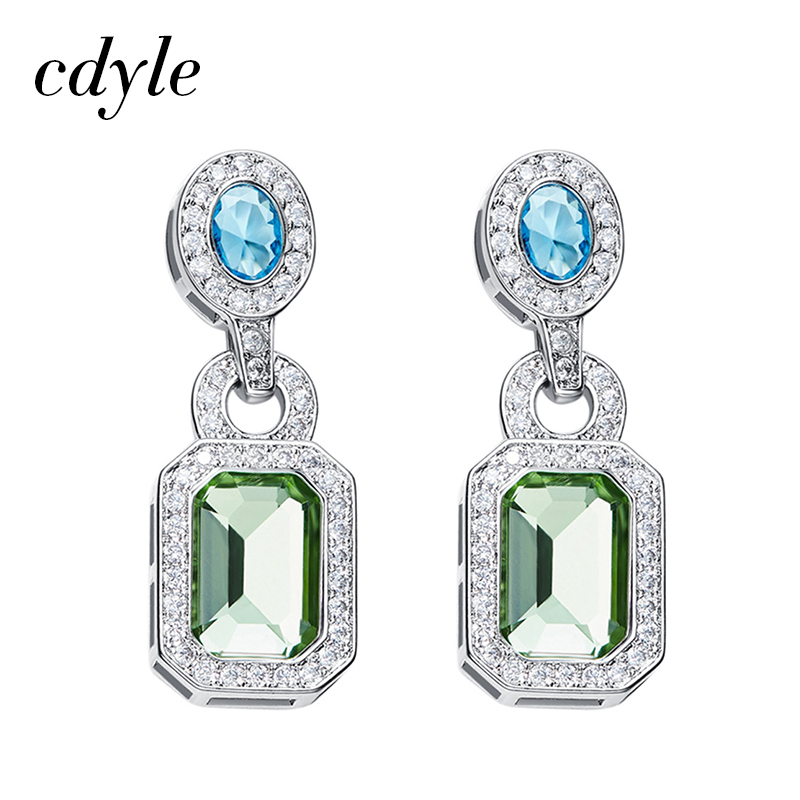 Cdyle Vintage Earrings Crystals from Swarovski Earrings For Women Luxury Blue Green Elegant Jewelry Austrian Rhinestone pair of graceful rhinestone triangle earrings jewelry for women