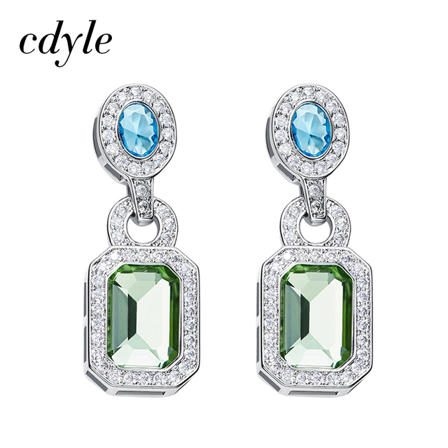 Cdyle Vintage Earrings Crystals from Swarovski Earrings For Women Luxury  Blue Green Elegant Jewelry Austrian Rhinestone c9955abb4169