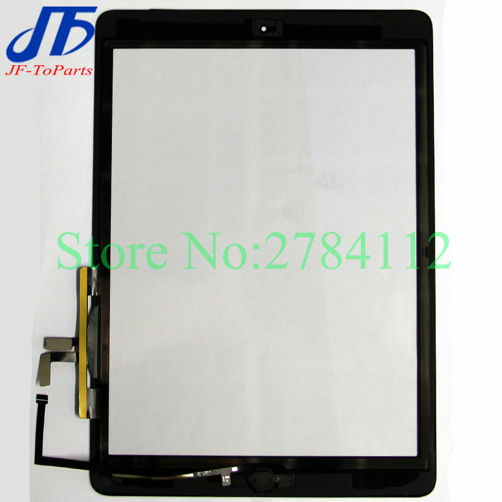 10Pcs replacement For ipad 5 ( Air 1 ) / A1822 A1823 Touch Screen Digitizer Panel + Home Button + Flex Adhesive Assembly Glass original 14 touch screen digitizer glass sensor lens panel replacement parts for lenovo flex 2 14 20404 20432 flex 2 14d 20376