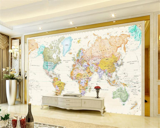 Beibehang 3d Wallpaper Custom Mural Room World Map Painting Wall Modern Decoration