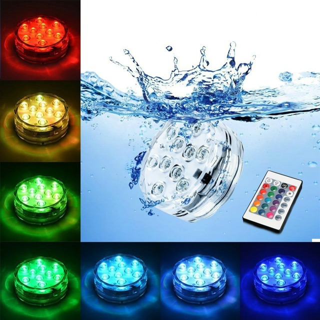 Waterproof Rgb Submersible Vase 10 Led Light Remote Control Candle