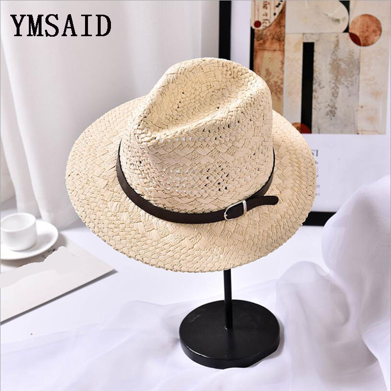 6b1042172e4f07 Ymsaid Men Women Handmade Fedora Panama Hats Fashion Hollow Beach ...