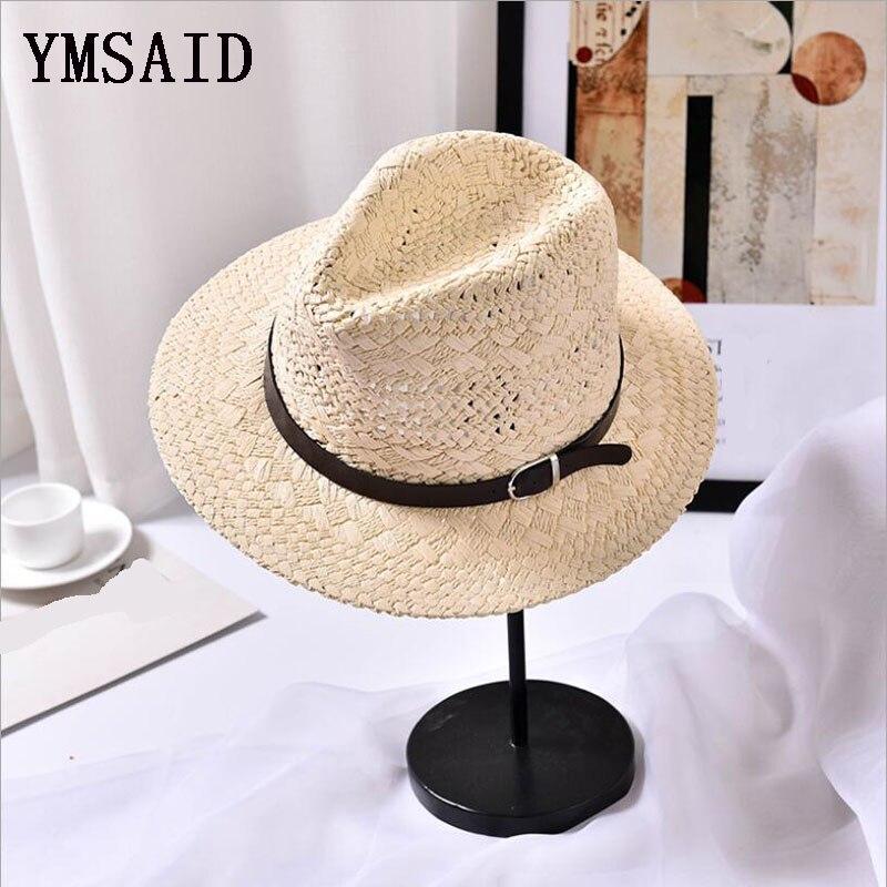 Ymsaid Men Women Handmade Fedora Panama Hats Fashion Hollow Beach Sun Hat British Style Jazz Cap Leather Buckle Spring Summer