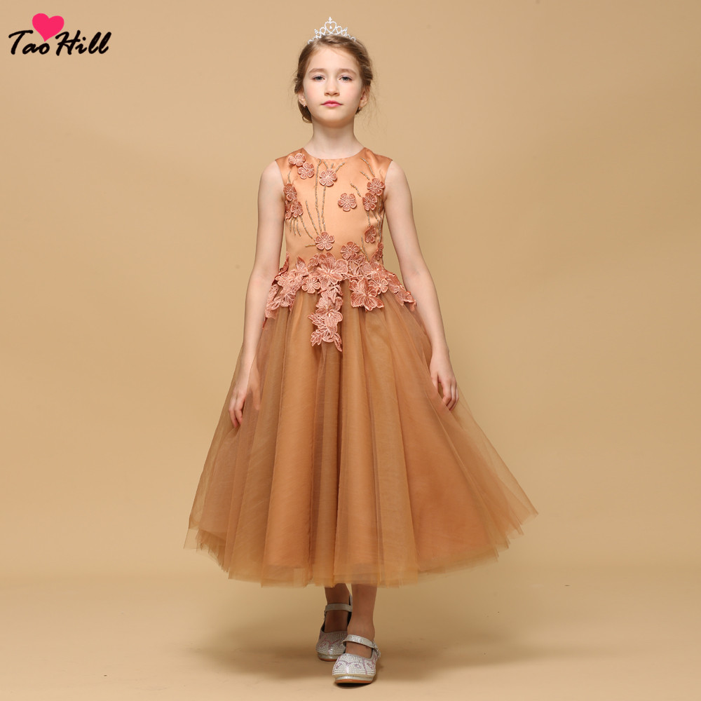 TaoHill Cheap Orange Lace Appliques   Flower     Girl     Dresses   A-line Kids Evening Gowns For Wedding First Communion   Dresses