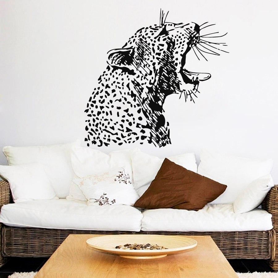 ⓪Enojado guepardo cabeza patrón de arte murales de pared inicio ...