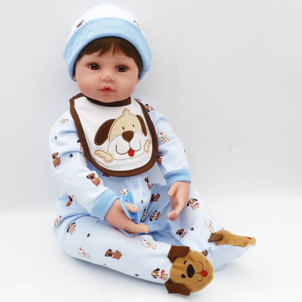 """Pursue 24""""/60 cm Toddler Reborn Baby doll With Brown Hair Sunshine Boy Cloth Body Silicone Limbs Gifts For Boyies Play Fun Toy"""