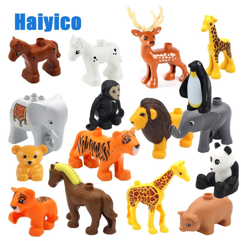 Animal Zoo Original Big Building Blocks Classic Accessories Compatible with Duplo Figure Set Bricks Children Baby Toys DIY Gift цена
