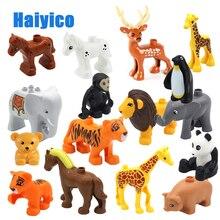 Купить с кэшбэком Animal Zoo Big Building Blocks Classic Accessories Compatible with Legoe Duplo Enlighten Child Baby Toys DIY Set Brick Gift