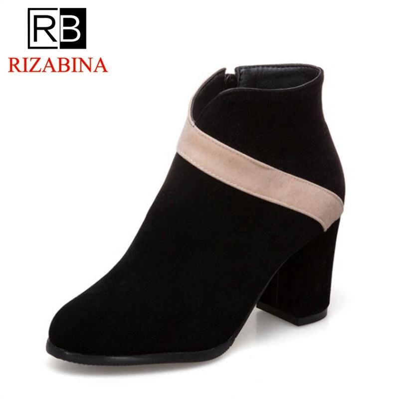 Rizabina Shoes Woman Short-Boots Round-Toe High-Heels Mixed-Color Plus-Size Winter Zipper