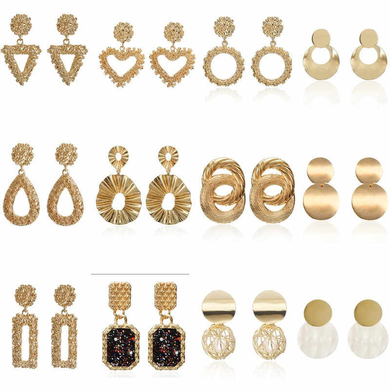 EARRING 2019 Hot Fashion statement EARRING FOR WOMEN simple design Punk metal GOLD Earring jewelry wholesale