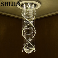Long Spiral Crystal Ceiling Light Fixture Lustre Crystal Light Fitting For Lobby Staircase Stairs Foyer Large