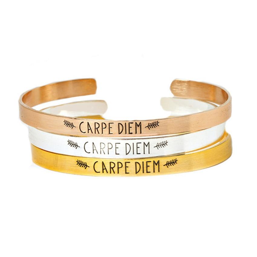 Gold Pulseras Mujer Moda 2018 Stainless Steel Hand Cuff Bangle Women Men Lettering Carpe Diem Cuff
