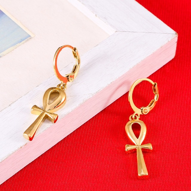 Clic Ankh Earrings Gold Color Egyptian Cross Jewelry Women Egypt Hieroglyphs Crux Ansata