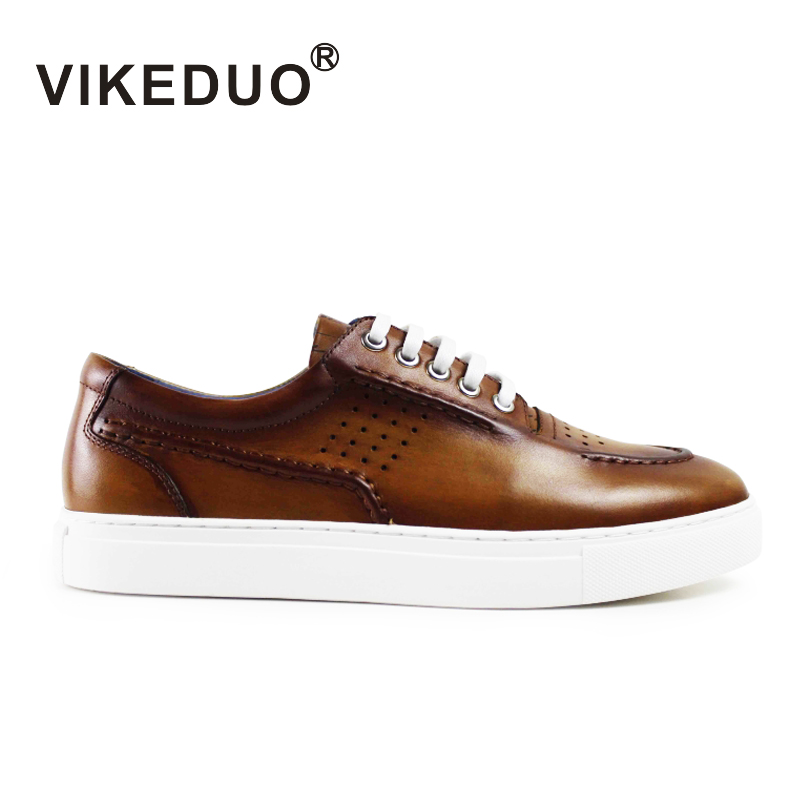 Vikeduo 2018 Handmade vintage male genuine Leather shoe Designer Luxury Fashion Leisure party wedding Brown Men's Casual Shoes 2017 men genuine leather boat shoes male british style retro flat shoe fashion leisure handmade sapato masculino d30