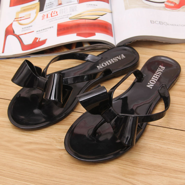 2b49b28452d3 New Summer jelly sandals lady s Bowtie flower flat sexy casual fashion female  beach flip flops women shoes home