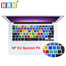 HRH Dust-proof Spanish Photoshop PS shortcuts Hotkeys Silicone Keyboard Skin Cover Protector  For Mac book 13 1517 Before 2016 180g mini pocket folding umbrella rain women kids girls mini pocket parasol anti uv waterproof portable travel clear umbrella