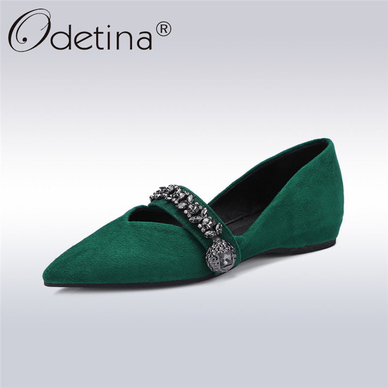 Odetina 2018 New Fashion Spring Genuine Leather Womens Luxury Flat Shoes Kid Suede Pointed Toe Ballet Flats Crystal Size 34-42 hot sale 2016 new fashion spring women flats black shoes ladies pointed toe slip on flat women s shoes size 33 43