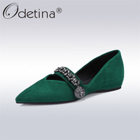 Odetina 2018 New Fashion Spring Genuine Leather Womens Luxury Flat Shoes Kid Suede Pointed Toe Ballet Flats Crystal Size 34 42