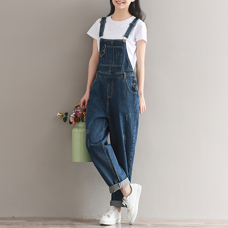 2019  Artistic wash denim cotton suspenders for girls with wide legs (8)