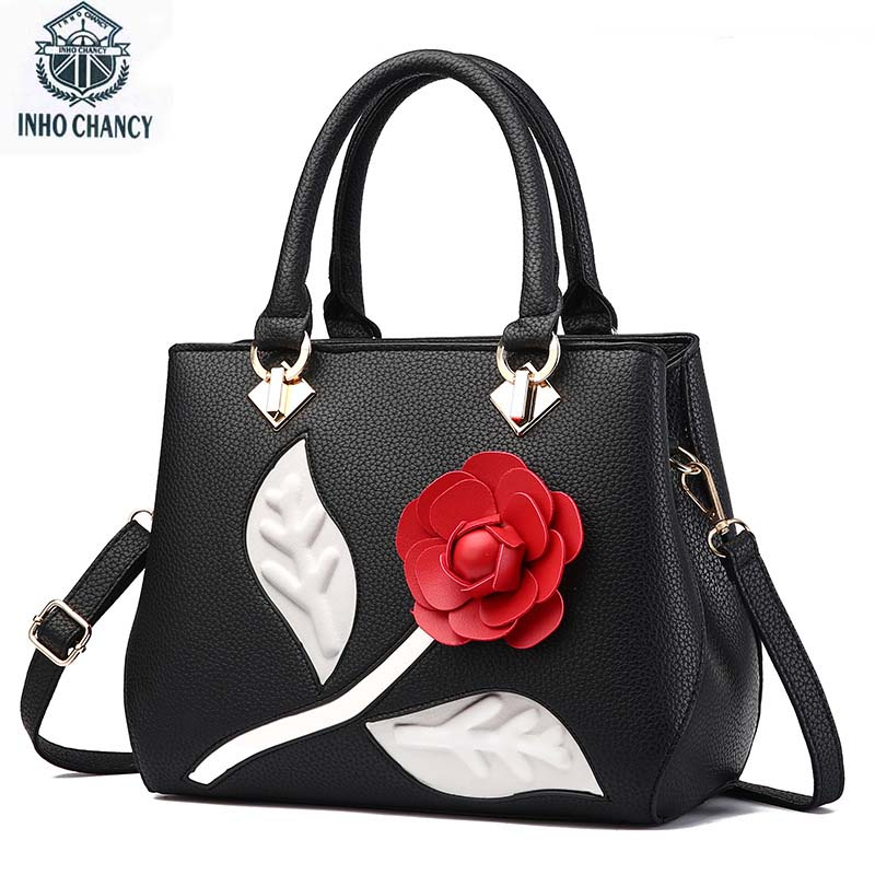 цена на 2017 Luxury Women Bag Famous Brand Vintage Female Big Rose Flower Bag Women's Handbags crossbody bags bolsa feminina sac a main