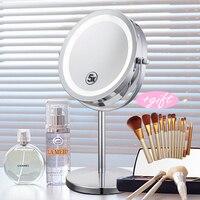 Profissional 6 Polegada 5x Ampliação Maquiagem Espelho Espelho Ampliador de Forma Redonda de 2 Faces Rotativo LEVOU Luz Espelho de Maquiagem para o Presente