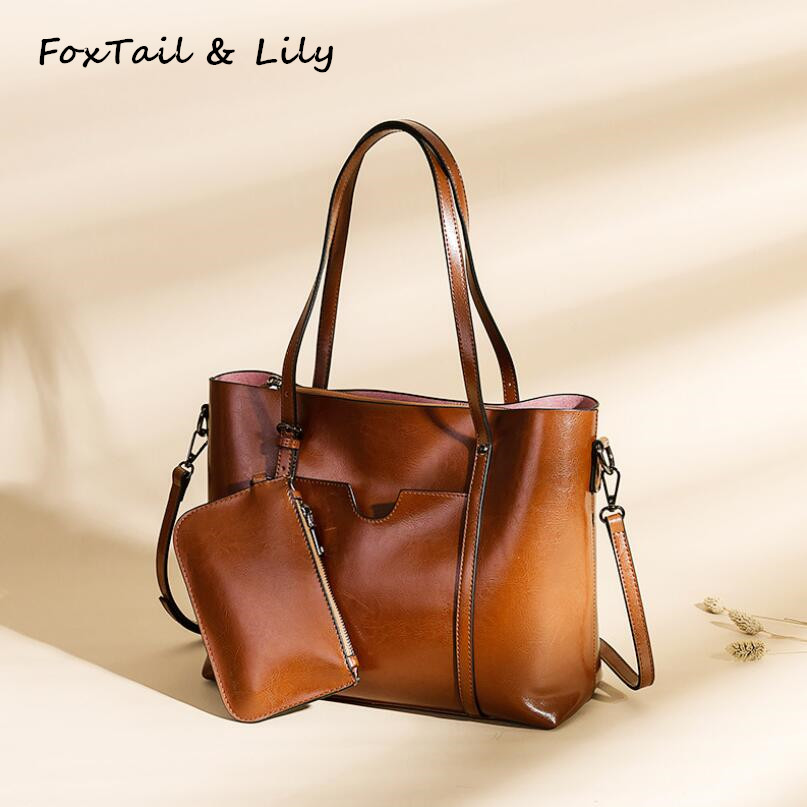 FoxTail & Lily Women Oil Wax Leather Handbags Ladies Vintage Shoulder Bags Large Capacity Tote Crossbody Bags with Small Purses fashion women genuine leather handbags large capacity tote bag oil wax leather shoulder bag crossbody bags for women