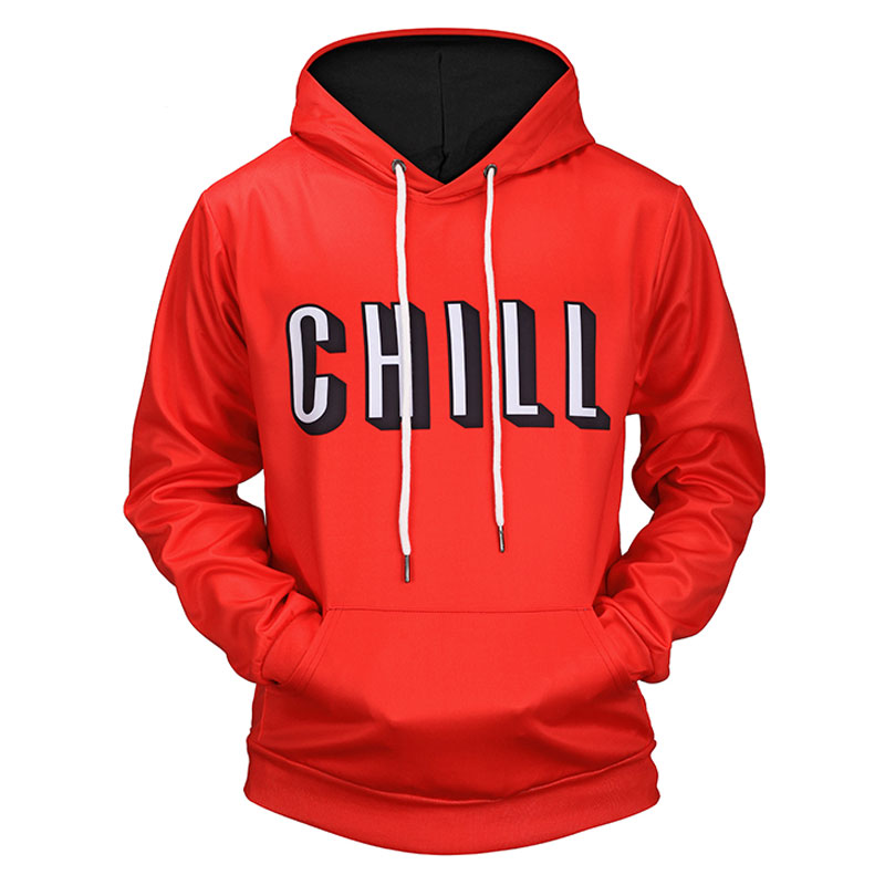 Headbook New 2018 Red Color Hoodies Men/Women 3d Sweatshirts Print Letters CHILL Hooded Hoodies Hoody Sweatshirts H12052