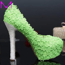 Green Color Evening Party Shoes 2016 Autumn New Design Lace Flower Bridal Wedding Dress Shoes Cheap Bridesmaid Shoes Prom Pumps